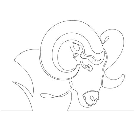 One continuous drawing line Wild ram head portrait with rounded horns, Aries. .Single hand drawn art line doodle outline isolated minimal illustration cartoon character flat Ilustracja
