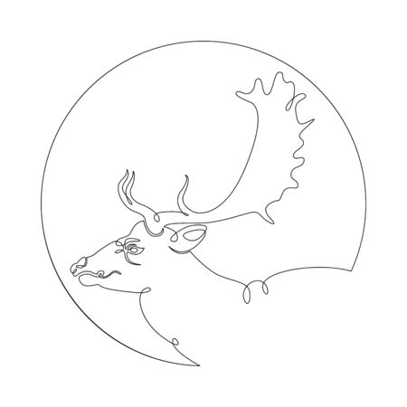 One continuous drawing line portrait head wild deer, elk, roe deer .Round logo.Single hand drawn art line doodle outline isolated minimal illustration cartoon character flat