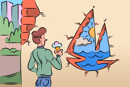 Young man eating ice cream. Hole in the wall contour of a boat with a sail yacht. Sea and sun with a hole in the wall.Hand drawn style flat design illustrations.