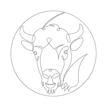 One continuous drawing line portrait of the head of a wild ox, bison, buffalo,bull  .Round logo.Single hand drawn art line doodle outline isolated minimal illustration cartoon character flat