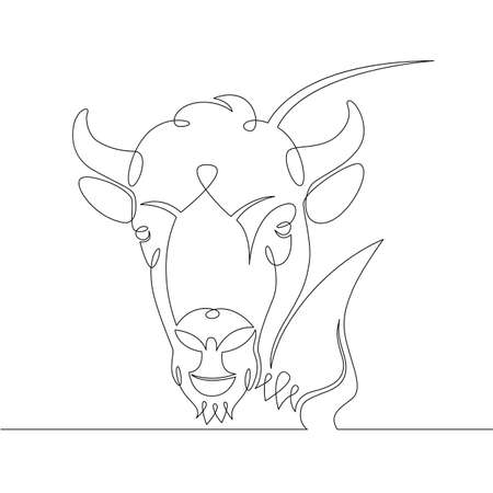 One continuous drawing line portrait of the head of a wild ox, bison, buffalo,bull .Single hand drawn art line doodle outline isolated minimal illustration cartoon character flat
