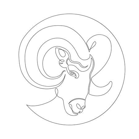One continuous drawing line Wild ram head portrait with rounded horns, Aries. .Round logo.Single hand drawn art line doodle outline isolated minimal illustration cartoon character flat