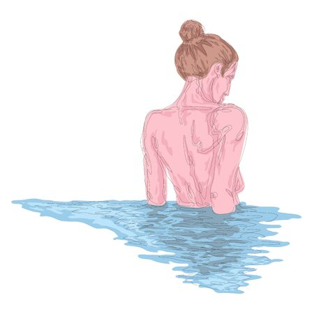One continuous drawing line portrait of a beautiful girl in the water, reflection, view from the back .Single hand drawn art line doodle outline isolated minimal illustration cartoon character flat