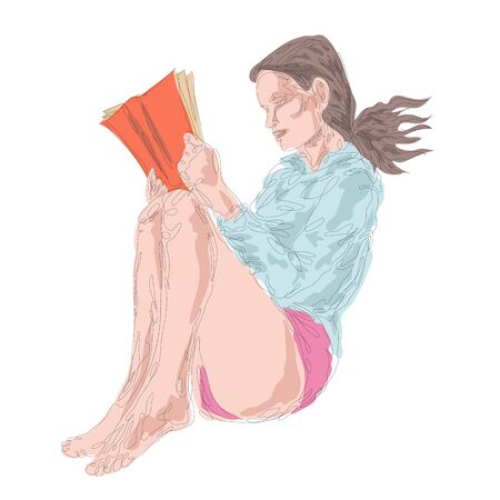 One continuous drawing line portrait of a beautiful girl in a nightgown is reading a book.Single hand drawn art line doodle outline isolated minimal illustration cartoon character flat