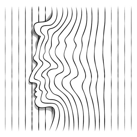 Male profile head portrait silhouette outline of several single lines. Abstraction of lines. Wave minimalistic pattern.Line art.