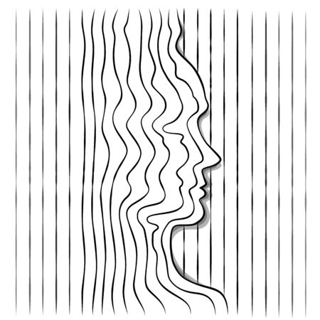 Female profile head  portrait silhouette outline of several single lines. Abstraction of lines. Wave minimalistic pattern.Line art.