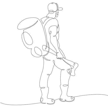 One continuous drawing line portrait of a bearded man tourist in a baseball cap with a backpack and an ax .Single hand drawn art line doodle outline isolated minimal illustration cartoon character flat