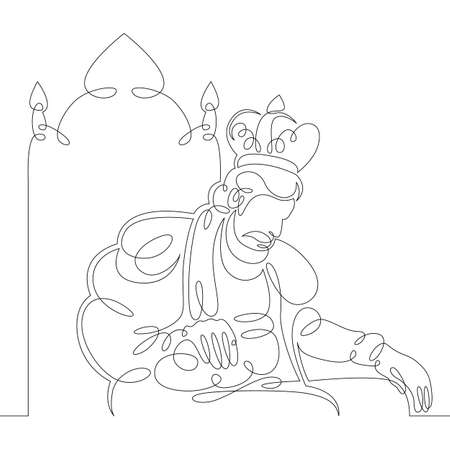 One continuous drawing line medieval historical european monarch king in a crown sits on a throne .Single hand drawn art line doodle outline isolated minimal illustration cartoon character flat