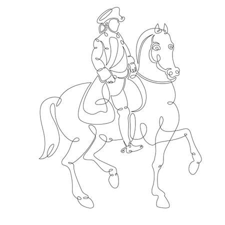 One continuous drawing line medieval historical european monarch King in a cocked hat on horseback .Single hand drawn art line doodle outline isolated minimal illustration cartoon character flat Stock Illustratie