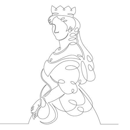 One continuous drawing line medieval historical european monarch princess queen .Single hand drawn art line doodle outline isolated minimal illustration cartoon character flat