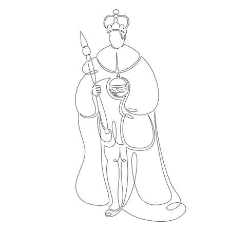 One continuous drawing line medieval historical european monarch king .Single hand drawn art line doodle outline isolated minimal illustration cartoon character flat