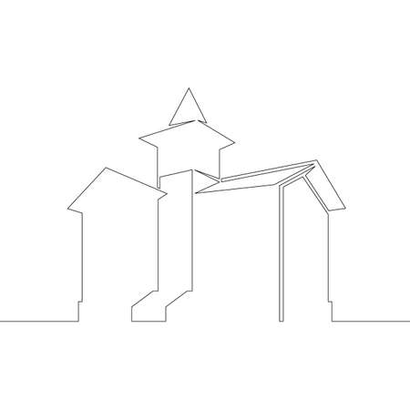 One continuous drawing line logo symbol historic old european house architecture .Single hand drawn art line doodle outline isolated minimal illustration cartoon character flat