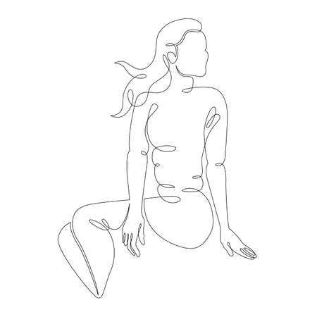 One continuous drawing line portrait of a beautiful woman with her long hair,girl in shorts sits on the sea beach.Single hand drawn art line doodle outline isolated minimal illustration cartoon character flat Stockfoto