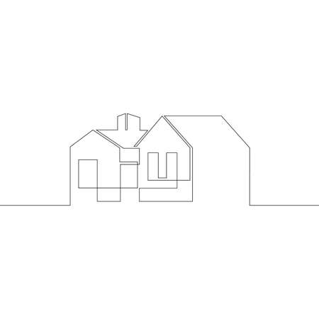 One continuous drawing line logo symbol of a modern European house, architecture, exterior design .Single hand drawn art line doodle outline isolated minimal illustration cartoon character flat Stockfoto