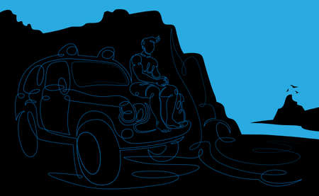 One continuous drawing line young man surfer sits on the hood of an off-road vehicle on the sea beach  .Single hand drawn art line doodle outline isolated minimal illustration cartoon character flat