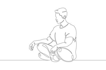 One continuous drawing line young man meditates relaxes in lotus position  .Single hand drawn art line doodle outline isolated minimal illustration cartoon character flat