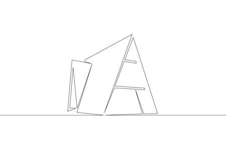 One continuous drawing line logo symbol of a modern minimal European house, art architecture, exterior design .Single hand drawn art line doodle outline isolated minimal illustration cartoon character flat Stockfoto
