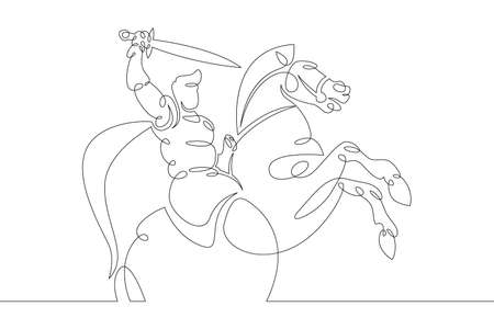One continuous drawing line young man knight with a sword in hand riding a horse  .Single hand drawn art line doodle outline isolated minimal illustration cartoon character flat
