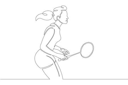 One continuous drawing line logo girl  woman athlete playing badminton .Single hand drawn art line doodle outline isolated minimal illustration cartoon character flat