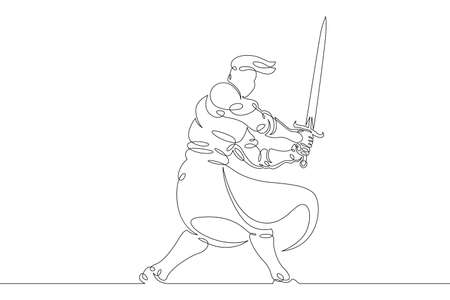One continuous drawing line young man knight with sword in hand .Single hand drawn art line doodle outline isolated minimal illustration cartoon character flat