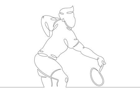 One continuous drawing line logo young man athlete playing badminton  .Single hand drawn art line doodle outline isolated minimal illustration cartoon character flat