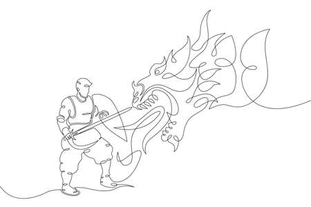 One continuous drawing line young man a knight with a sword in his hand fights a dragon  .Single hand drawn art line doodle outline isolated minimal illustration cartoon character flat Stockfoto