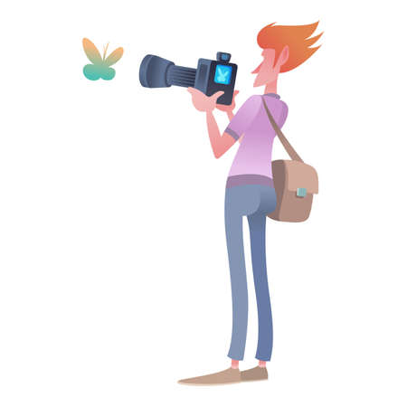A male photographer takes a butterfly insect with a camera. Live nature.Cute cartoon characters. Flat vector illustration.