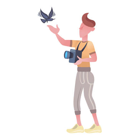 A male photographer is shooting a flying bird with a camera. Hummingbird bird. Wildlife.Cute cartoon characters. Flat vector illustration. Stockfoto