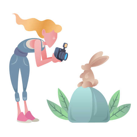 Woman photographer takes pictures of the rabbit. Rabbit sitting on a stone. Green plants.Cute cartoon characters. Flat vector illustration. Stockfoto
