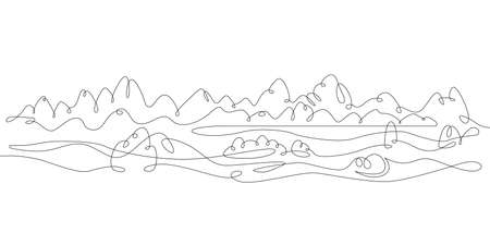 One continuous drawing line  beautiful mountain landscape panorama overlooking the alpine lake  .Single hand drawn art line doodle outline isolated minimal illustration cartoon character flat Stock Illustratie