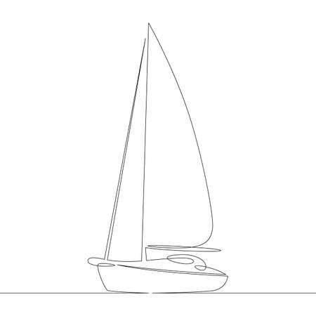 One continuous drawing line boat dinghy yacht sailboat sail ship .Single hand drawn art line doodle outline isolated minimal illustration cartoon character flat