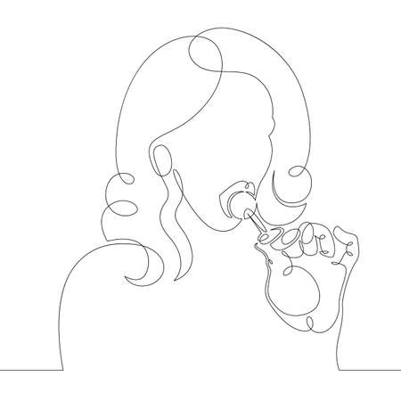 One continuous drawing line Beautiful Teen Woman Sucks Round Lollipop .Single hand drawn art line doodle outline isolated minimal illustration cartoon character flat