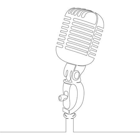 Musical studio microphone symbol . One continuous drawing line, logo single hand drawn art doodle isolated minimal illustration. Ilustrace