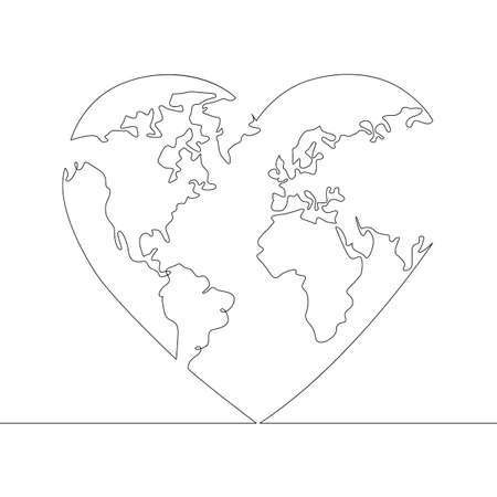 Earth globe map inside human heart . One continuous drawing line, logo single hand drawn art doodle isolated minimal illustration.