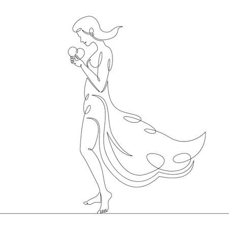 A graceful slender beautiful woman in a dress holds a heart in her hands. One continuous drawing line, single hand drawn art doodle isolated minimal illustration.