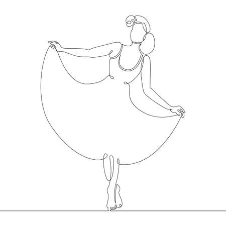 Graceful slender beautiful woman is dancing, dancer. One continuous drawing line, single hand drawn art doodle isolated minimal illustration. Çizim