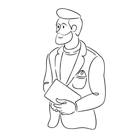 Young bearded man in a jacket with a tablet laptop. Continuous single line.Flat sketch line design style minimal artline ink vector illustration.