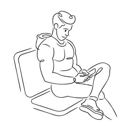 A young man is sitting with a phone in his hands. Continuous single line.Flat sketch line design style minimal artline ink vector illustration. Ilustrace