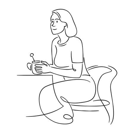Young woman sits in a chair and drinks a hot drink of coffee in a cafe. Continuous single line.Flat sketch line design style minimal artline ink vector illustration.