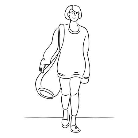 Young girl in a sweater with a large luggage bag. Continuous single line.Flat sketch line design style minimal artline ink vector illustration.