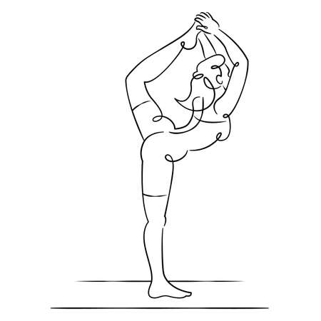 Young woman in bodysuit is engaged in practicing sports yoga exercises. Continuous single line.Flat sketch line design style minimal artline ink vector illustration.