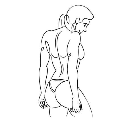 Young woman with long hair in a bikini. Continuous single line.Flat sketch line design style minimal artline ink vector illustration. Ilustrace