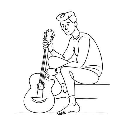 Young male musician sits with a guitar. Continuous single line.Flat sketch line design style minimal artline ink vector illustration. Ilustrace