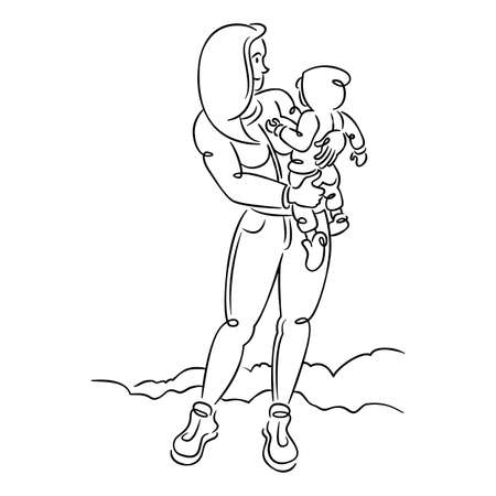 Young woman mother with a baby in her arms, hugs and motherhood. Continuous single line.Flat sketch line design style minimal artline ink vector illustration. Ilustrace