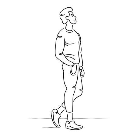 Young man in fashionable clothes. Continuous single line.Flat sketch line design style minimal artline ink vector illustration.