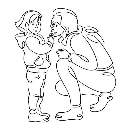 Young woman mother with a baby in her arms, hugs and motherhood.Continuous single line.Flat sketch line design style minimal artline ink vector illustration. Vektorgrafik