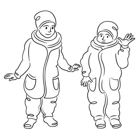 Two small children are walking in winter clothes. Continuous single line.Flat sketch line design style minimal artline ink vector illustration.