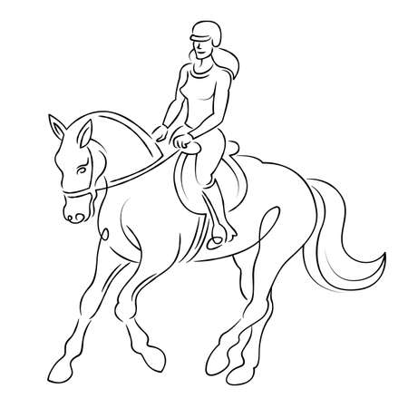 Young girl woman rider riding a horse. Equestrian sport concept. Continuous single line.Flat sketch line design style minimal artline ink  illustration. Çizim