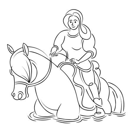 Young girl woman rider riding a horse. Equestrian sport concept. Continuous single line.Flat sketch line design style minimal artline ink  illustration. Ilustrace