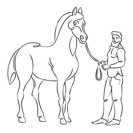 Bearded oriental man holding reins of arabian horse at horse races. Equestrian sport concept. Continuous single line.Flat sketch line design style minimal artline ink  illustration. Ilustrace